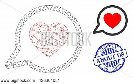 Web Mesh Favorite Message Vector Icon, And Blue Round About Us Unclean Stamp. About Us Stamp Seal Us