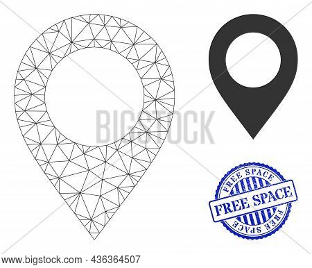 Web Mesh Map Pointer Vector Icon, And Blue Round Free Space Rough Stamp Imitation. Free Space Stamp