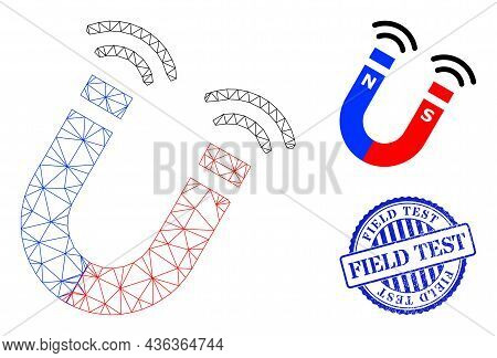 Web Carcass Magnet Field Vector Icon, And Blue Round Field Test Rubber Print. Field Test Stamp Uses