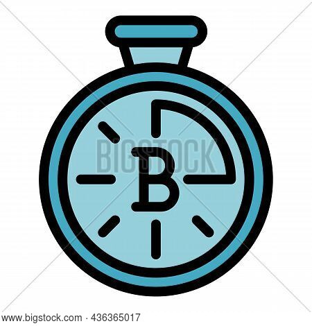Blockchain Stopwatch Icon. Outline Blockchain Stopwatch Vector Icon Color Flat Isolated