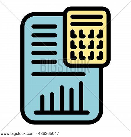 Blockchain Calculator Icon. Outline Blockchain Calculator Vector Icon Color Flat Isolated