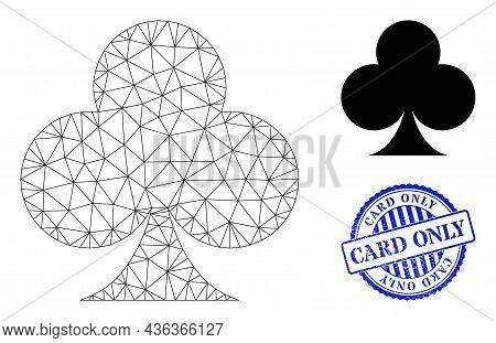 Web Mesh Playing Card Club Suit Vector Icon, And Blue Round Card Only Grunge Rubber Print. Card Only