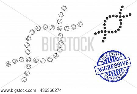Web Mesh Genetic Spiral Vector Icon, And Blue Round Aggressive Dirty Badge. Aggressive Stamp Seal Us