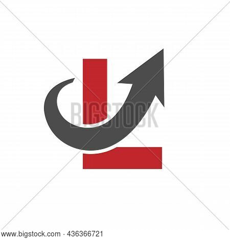 Financial Marketing Logo On Letter L, Initial Growth Arrow Concept. Fundraising Financial And Accoun