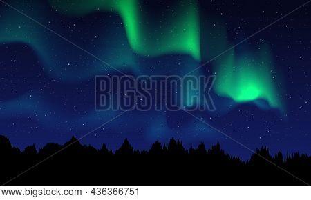 Realistic Northern Lights, Night Sky And Amazing Polar Lights Vector Illustration.