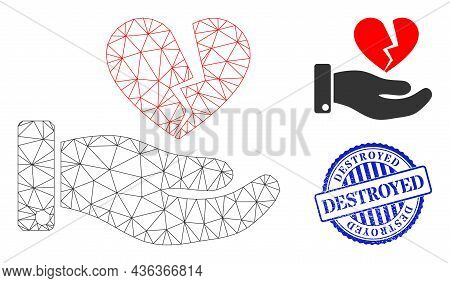 Web Carcass Break Heart Offer Vector Icon, And Blue Round Destroyed Rough Seal. Destroyed Watermark