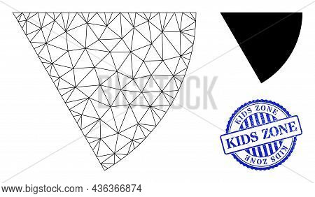 Web Mesh Circle Sector Vector Icon, And Blue Round Kids Zone Rubber Stamp Seal. Kids Zone Stamp Seal