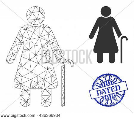 Web Carcass Grandmother Vector Icon, And Blue Round Dated Rubber Stamp Print. Dated Stamp Uses Round