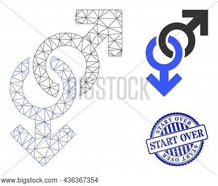 Web Mesh Gay Symbol Vector Icon, And Blue Round Start Over Rough Stamp Print. Start Over Stamp Uses