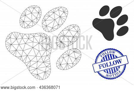 Web Carcass Paw Footprint Vector Icon, And Blue Round Follow Rubber Stamp Print. Follow Stamp Seal U