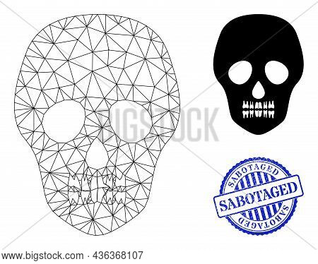 Web Net Skull Vector Icon, And Blue Round Sabotaged Rubber Stamp Seal. Sabotaged Stamp Seal Uses Rou