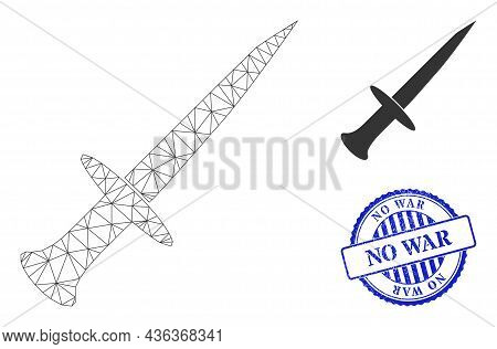 Web Carcass Sword Vector Icon, And Blue Round No War Unclean Stamp Imitation. No War Seal Uses Round