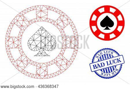 Web Carcass Spades Casino Chip Vector Icon, And Blue Round Bad Luck Rubber Stamp Imitation. Bad Luck