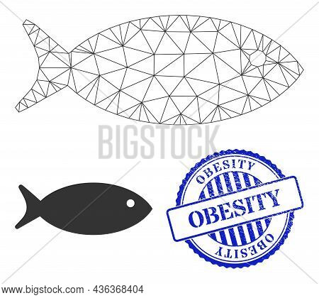 Web Carcass Fish Vector Icon, And Blue Round Obesity Unclean Stamp Imitation. Obesity Imprint Uses R
