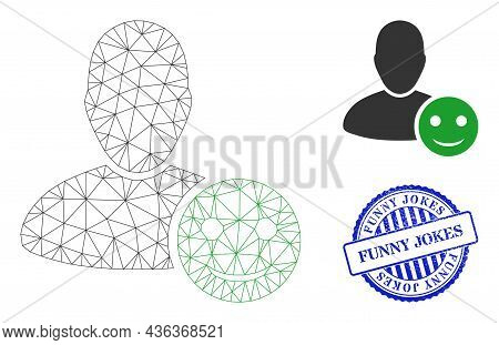 Web Mesh User Happy Emotion Vector Icon, And Blue Round Funny Jokes Unclean Watermark. Funny Jokes S