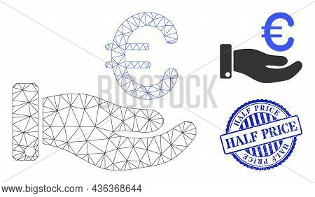 Web Mesh Hand Give Euro Vector Icon, And Blue Round Half Price Grunge Watermark. Half Price Seal Use