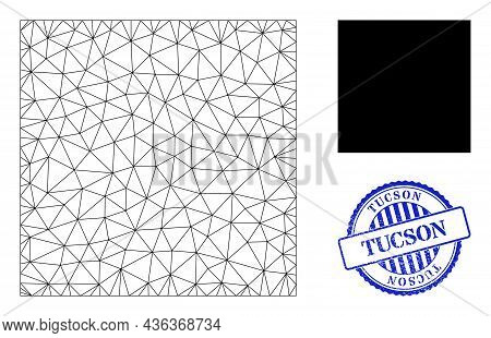 Web Mesh Square Vector Icon, And Blue Round Tucson Scratched Stamp Seal. Tucson Stamp Seal Uses Roun