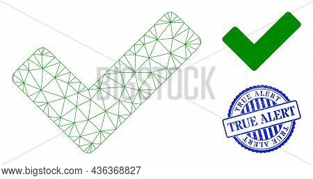 Web Network Ok Sign Vector Icon, And Blue Round True Alert Textured Stamp Imitation. True Alert Impr