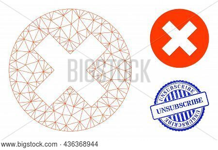 Web Carcass Delete Vector Icon, And Blue Round Unsubscribe Rubber Print. Unsubscribe Seal Uses Round