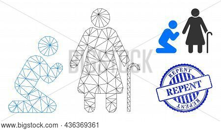 Web Net Man Pray For Grandmother Vector Icon, And Blue Round Repent Unclean Stamp Imitation. Repent