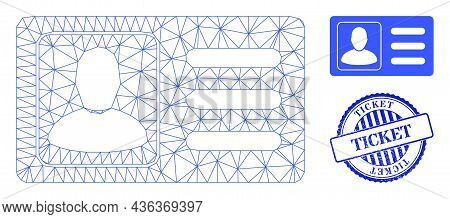Web Carcass User Account Card Vector Icon, And Blue Round Ticket Grunge Stamp Seal. Ticket Stamp Use