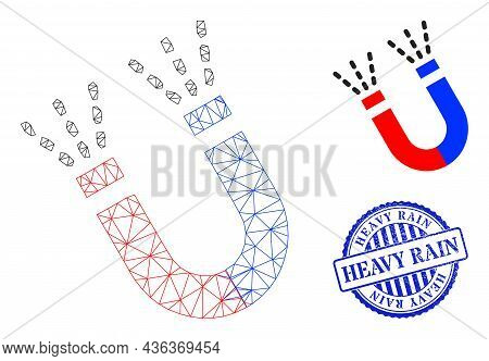 Web Net Magnet Force Vector Icon, And Blue Round Heavy Rain Grunge Stamp Seal. Heavy Rain Stamp Seal