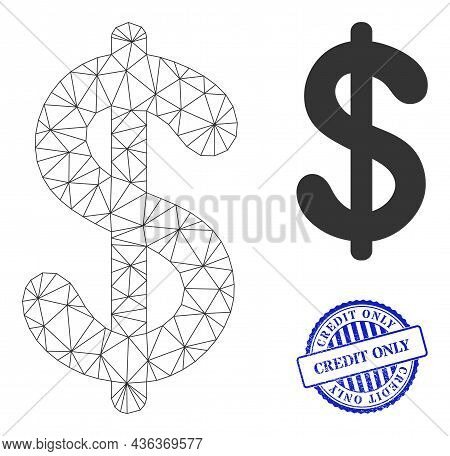 Web Mesh Dollar Currency Vector Icon, And Blue Round Credit Only Corroded Watermark. Credit Only Wat