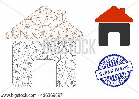 Web Carcass House Vector Icon, And Blue Round Steak House Dirty Watermark. Steak House Watermark Use