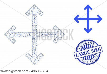 Web Carcass Enlarge Arrows Vector Icon, And Blue Round Large Size Textured Stamp. Large Size Stamp U