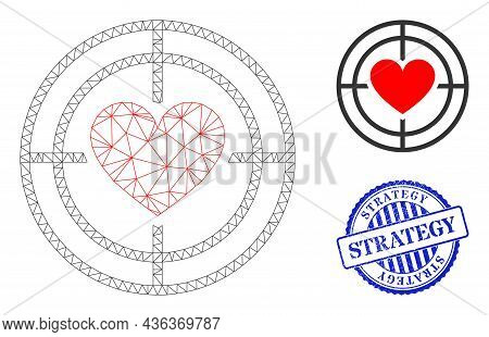 Web Mesh Love Target Vector Icon, And Blue Round Strategy Textured Stamp Seal. Strategy Stamp Seal U