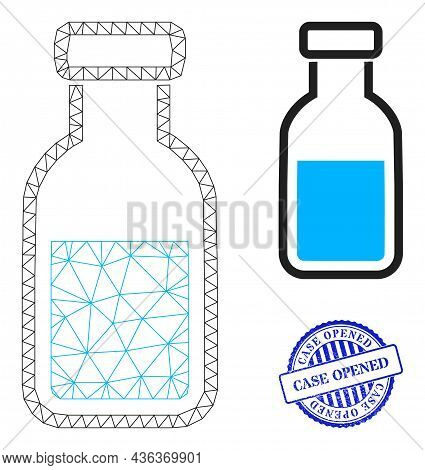 Web Carcass Vial Vector Icon, And Blue Round Case Opened Textured Stamp Print. Case Opened Seal Uses