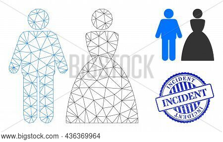 Web Carcass Wedding Couple Vector Icon, And Blue Round Incident Rough Stamp Print. Incident Stamp Se