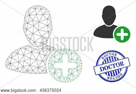 Web Mesh Add User Vector Icon, And Blue Round Doctor Unclean Stamp. Doctor Stamp Seal Uses Round For