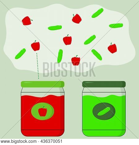 Educational Activity For Children, Sort The Peppers And Cucumbers Into The Appropriate Jars. Logic G