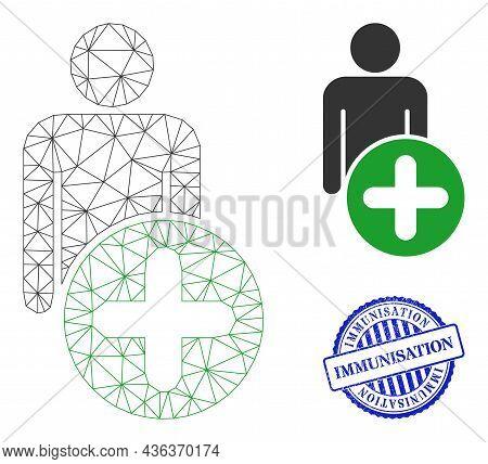 Web Carcass Add Man Figure Vector Icon, And Blue Round Immunisation Rough Watermark. Immunisation Wa