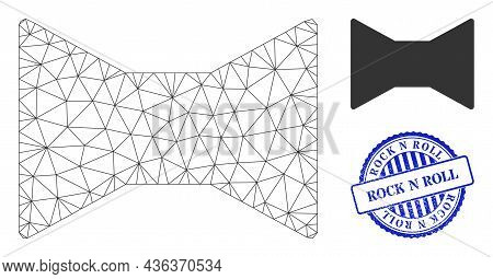 Web Carcass Tie Bow Vector Icon, And Blue Round Rock N Roll Rubber Watermark. Rock N Roll Watermark