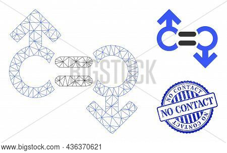 Web Net Gay Relation Symbol Vector Icon, And Blue Round No Contact Unclean Stamp. No Contact Stamp S