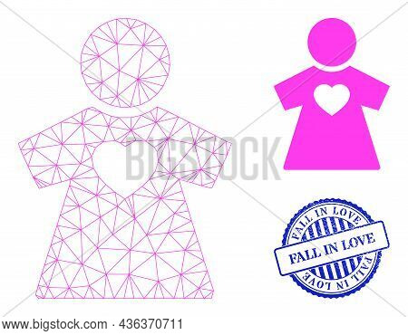 Web Carcass Girlfriend Vector Icon, And Blue Round Fall In Love Grunge Seal. Fall In Love Stamp Seal