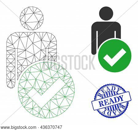 Web Mesh Valid Man Figure Vector Icon, And Blue Round Ready Grunge Watermark. Ready Seal Uses Round