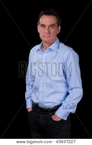 Portrait Of Smiling Relaxed Business Man In Blue Shirt