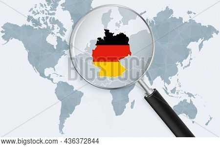 World Map With A Magnifying Glass Pointing At Germany. Map Of Germany With The Flag In The Loop. Vec
