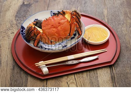 Boiled Japanese mitten crab (detached shell from body). This crab is the same kind of crab as the Shanghai hairy crab.