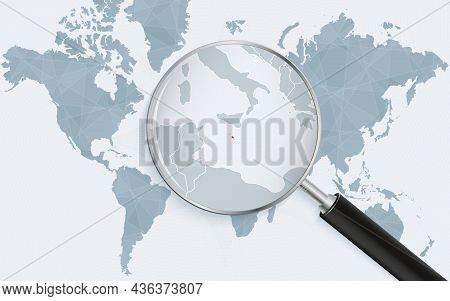World Map With A Magnifying Glass Pointing At Malta. Map Of Malta With The Flag In The Loop. Vector