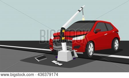 Damage Red Car Crash Pole Light Accident Cannot Drive. The Front  Is Severely Damaged. The Equipment