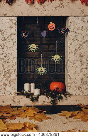 Mysterious House With Halloween Decorations, Selective Focus. Halloween Holiday Concept