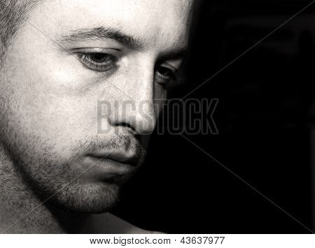Depressed Man Deep In Thought