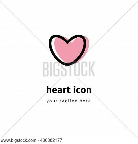 Heart Colorfull Icon Vector. Perfect Love Symbol. Valentines Day Sign, Emblem Isolated On White Back