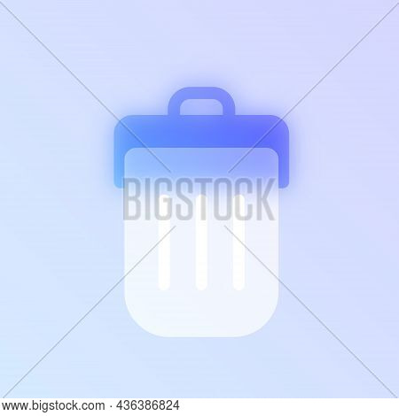 Delete Button Glass Morphism Trendy Style Icon. Trash Bin Color Vector Icon With Blur, Transparent G