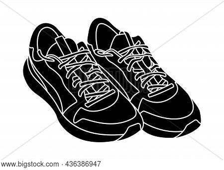 Sneakers Silhouette Monochrome Vector Illustration Isolated On White Background. Active Lifestyle Sp
