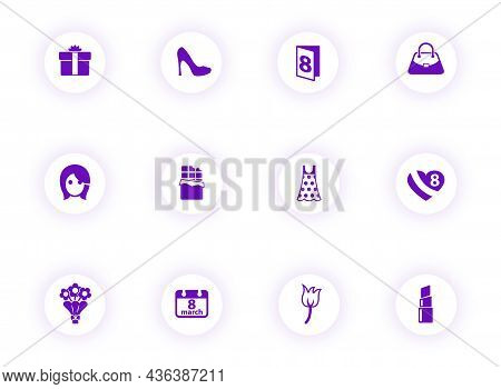8 March Purple Color Vector Icons On Light Round Buttons With Purple Shadow. 8 March Icon Set For We